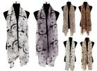 Ladies Celebrity Silk Feel Long Scarf - Various Designs & Colours