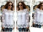 Stylish Women Embroidery Lace Crochet Long Sleeve Top T-Shirt Blouses 3 Colors Z