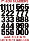 """Set of 32 Competition Vinyl Race Numbers 4"""" / 10cm High Stickers Decals Bike Car"""