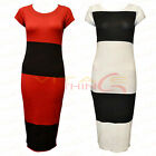Womens Ladies Stripe Bandage Print Bodycon Midi Long Dress Short Cap Sleeve Top