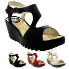 Womens Fly London Yanca Mousse Leather Open Toe Shoes Wedge Heel Sandals US 5-12
