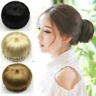 Lady Natural Black/Brown Chignon Bun Hair Extension Clip-In Updo Style Hairpiece