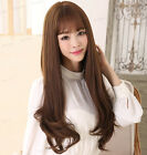 100% Real hair New Light Brown Natural wave Free to split bangs Human Hair wigs