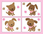 Pink Puppy Nursery Wallpaper Border Decals Girl Wall Art Stickers Dog Paw Prints