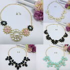 2 Pcs Set Fashion Woman Crystal Flower Chain Bib Choker Necklace+Earrings Gift
