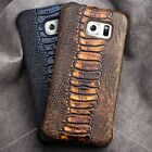 Fits Samsung Galaxy S7 EDGE Phone Genuine Leather Luxury Ostrich Type Case Cover