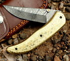 Damascus Folding Pocke Knife Handmade - Liner Lock - Amaizing file work