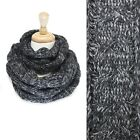 NEW VINTAGE NATURAL SOFT WOMEN MULTI -TONE KNITTED INFINITY SCARF / Black SS2407
