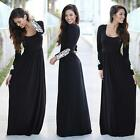 Women Hot Long Sleeve Leisure Lace Loose Maxi Dress Party Evening Solid Black BD