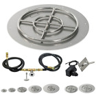 American Fireglass Round Flat Fire Pit Kit Spark Ignition 12 18 24 30 36 NG LP