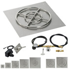 American Fireglass Square Fire Pit Kit w/ Spark Ignition Pan Burner LP or NG