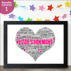 Personalised Hen Night Party Bride To Be Keepsake Gift Word art print YOUR WORDS