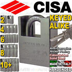 CISA Anti-Corrosion 62mm Heavy Solid Steel Padlock Up to 20 Locks Keyed Alike