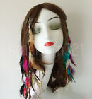 Native American Red Indian Feather Hair Comb Clip Extension Boho Tribal Costume