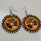Maasai Market Africa Ethnic Jewelry Masai Bead Multi Color Dangle Earring 689-94