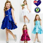 Satin Flower Girl Dress Jr Bridesmaid Dress Girls Party Formal Dress Size 4 to14