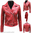 Ladies Red Zipped Brando Biker Style Urban Retro 100% Real Leather Jacket