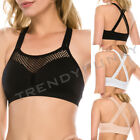 Cageback Cutout Sports Bra Bralette Strappy Back Mesh Line Padded Athletic