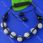 10MM Crystal Disco Hip Hop Ball Beads Hand_knitted Men's Bracelet Cuff