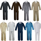 5pc Baby Toddler Boy Formal Suit Black Brown Gray Khaki Green White Navy Sm-20