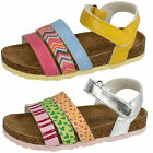 Girls Spot On H0164 Silver Or Yellow Synthetic Velcro Sandals