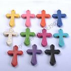 TURQUOISE Gemstones CROSS Charms Pendants BEADS Necklace Earrings 42X28MM