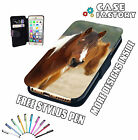 Beautiful Cute Brown White Pony In Wild - Mobile Leather Flip Wallet Case Cover