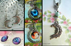 MOON NECKLACE PENDANT OR EARRINGS CELESTIAL GALAXY STARS SPACE SCI-FI PAGAN
