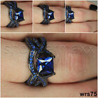 Womens Gothic Black & Blue Sapphire Sterling Silver Engagement Wedding Ring Set