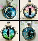 DRAGON PENDANT CHARM NECKLACE GLASS DOME 25MM ROUND EYE CRESCENT MOON