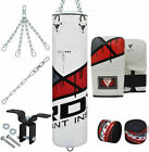 RDX MMA Punching Bag Filled Set Punch Bags Mitts Heavy Kit Chains Kick Boxing