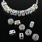 Czech Crystal Rhinestone Rondelle Spacer European Charm Bead Locks/Clips Stopper