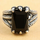 Black Agate Gemstone Claws Paw Vintage Woman Man's Stainless Steel Finger Rings