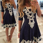 Fashion Summer Lace Flower Long Sleeve Party Evening Cocktail Short Mini Dresses