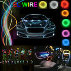 UK 3M 5M Flexible LED Neon Light Glow EL Strip Tube Wire Rope Battery Christmas