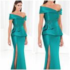 NWT TERANI COUTURE E3778 Elegant off-the-shoulder  peplum gown in teal $489