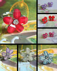 GLITTER FLOWER ADJUSTABLE RING OR EARRINGS WITH CRYSTAL CENTRE STUDS