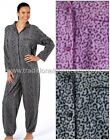 Ladies onesie all in one sleepsuit onezie womens pyjama button front with collar