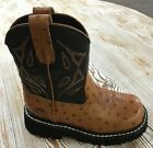 Kid's Roper Two Tone Brown Faux Leather Ostrich Print Boots **ON SALE NOW**