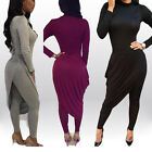 Sexy Women High Neck Long Sleeve Bodycon Slim Fit Tops & Skirt Pants Set 2PCS