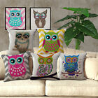 Square Pillow case Home Decor Colorful Owl Cartoon Sofa Office Bed Cushion Cover