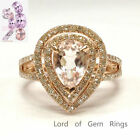 6x8mm Pear Morganite Double Halo Wedding Pave Diamonds Ring 14K Rose Gold