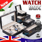 6/10/12 Grids Leather Watch Jewelry Display Storage Holder Case Box Organizer AU