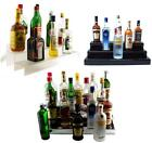 Liquor Bottle Shelf - 24-inch 3 Tier - Translucent/Black/Mirror - Bar Display