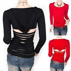 Unique Straps Shredded Back Cutout Hoody Blouse Top