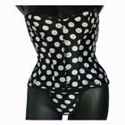 SEXY Black White Polka Dot Corset Bustier with Matching G