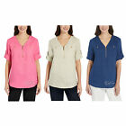 NWT Ellen Tracy Women Roll Tab Short Sleeve Linen Tunic 1/4 Zip Shirt/Top/Blouse