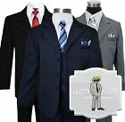 Kids Boys Formal Dress Wear Pinstripe Suit Sizes 2T-20 Colors: Black,Navy,Grey