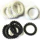 4 X Thick Spiral Plastic Elastic Wire Hair Band Bobble Ponio Black White UK