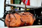 "New 24"" Men's duffel genuine Leather large vintage travel gym bag tote carry on"